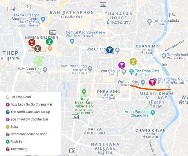 Mapa Chiang Mai. Las mejores ciudades de Tailandia.