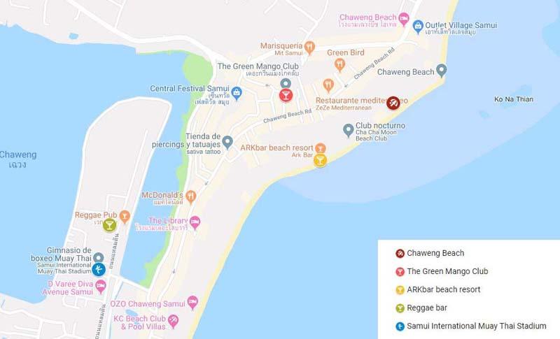 Mapa Koh Samui. Chaweng Beach. 5 ciudades mejores de Tailandia