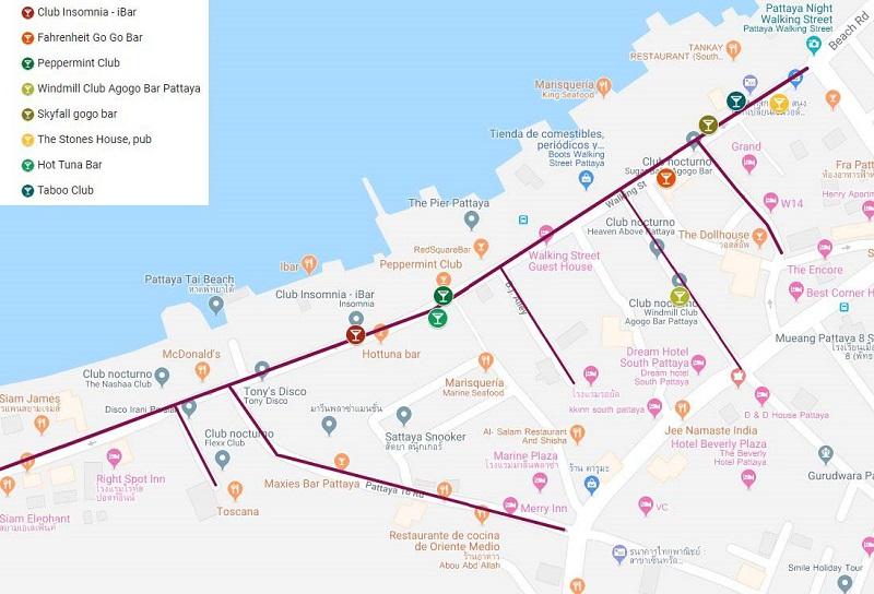 Pattaya walking street map. 5 ciudades mejores de Tailandia