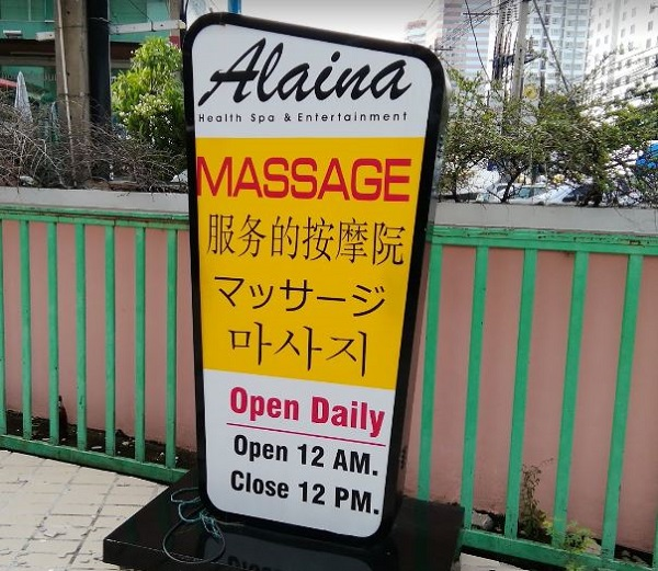 Cartel de Alaina. Salones de masaje en Bangkok