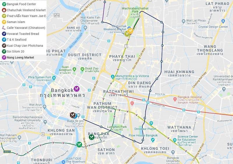 Mapa grande comer Bangkok