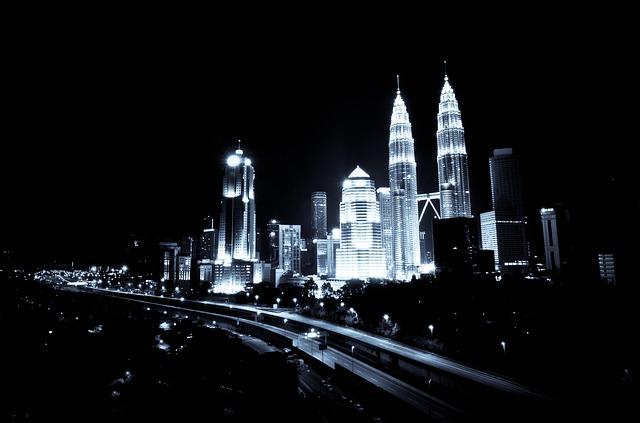 Kuala Lumpur en la noche. Malasia.
