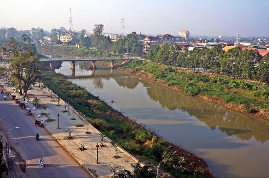 Río Sangker en Battambang.